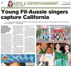 Young Fil-Aussie singers capture California